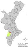 Localización de Benejama respecto a la Comunidad Valenciana