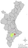 Localización de Penáguila respecto a la Comunidad Valenciana