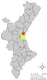 Localización de Montcada respecto a la Comunidad Valenciana