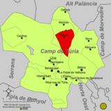 Localización de Olocau respecto a la comarca del Campo de Turia