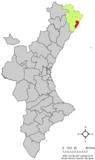 Localización de Peñíscola respecto al País Valenciano