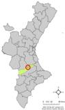 Localización de Alcudia de Crespins respecto a la Comunidad Valenciana