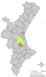 Localización de Alcántara de Júcar respecto a la Comunidad Valenciana