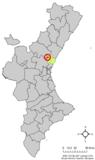 Localización de Algimia de Alfara respecto al País Valenciano