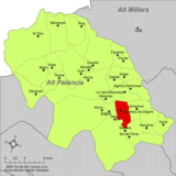 Localización de Castellnovo respecto a la comarca del Alto Palancia