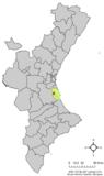 Localización de Albalat de la Ribera a la Comunidad Valenciana