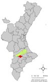 Localización de Bocairente respecto a la Comunidad Valenciana