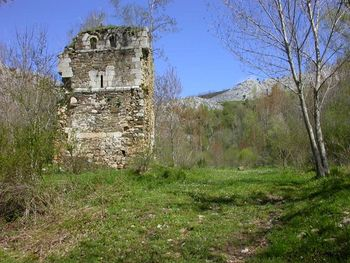 Ruinas del Monasterio de San Román de Entrepeñas, en la imagen se puede apreciar el torreón, único vestigio de su antiguo esplendor.