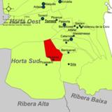 Localización de Alcácer respecto a la comarca de la Huerta Sur