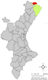 Localización de Puebla de Benifasar respecto a la Comunidad Valenciana