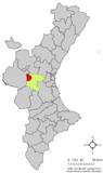 Localización de Siete Aguas respecto a la Comunidad Valenciana