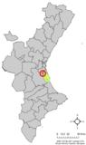 Localización de Almusafes en la Comunidad Valenciana