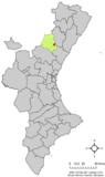 Localización de Argelita respecto al País Valenciano