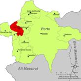 Localización de Todolella respecto a Los Puertos.