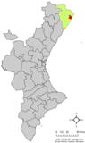 Localización de Benicarló respecto a la Comunidad Valenciana
