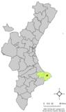 Localización de Gata de Gorgos respecto a la Comunidad Valenciana