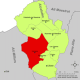 Localización de Lucena respecto a la comarca del Alcalatén