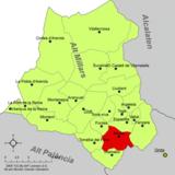Localización de Ayódar respecto a la comarca del Alto Mijares