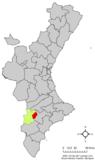 Localización de Biar respecto a la Comunidad Valenciana