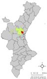 Localización de Bétera respecto a la Comunidad Valenciana