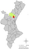 Localización de Segorbe respecto al País Valenciano