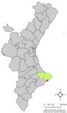 Localización de Calpe respecto a la Comunidad Valenciana