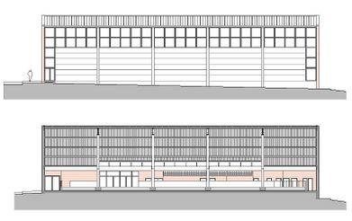 fachada norte y sección longitudinal