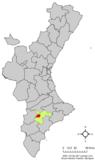 Localización de Onil respecto a la Comunidad Valenciana