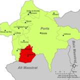 Localización de Castellfort respecto a la comarca de Los Puertos