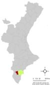 Localización de Crevillente respecto a la Comunidad Valenciana
