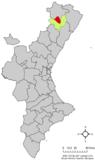 Localización de Ares del Maestre respecto al País Valenciano