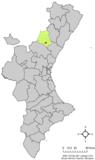 Localización de Fuentes de Ayódar respecto al País Valenciano