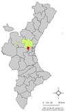 Localización de Ribarroja del Turia respecto a la Comunidad Valenciana