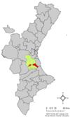 Localización de Alcira respecto a la Comunidad Valenciana