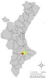 Localización de Cocentaina respecto a la Comunidad Valenciana