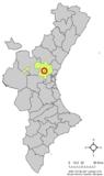 Localización de Benisanó respecto a la Comunidad Valenciana