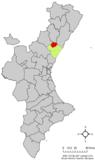 Localización de Onda respecto al País Valenciano