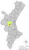 Localización de Macastre respecto al País Valenciano