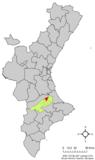 Localización de Benigánim respecto a la Comunidad Valenciana