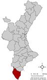 Localización de Orihuela respecto a la Comunidad Valenciana