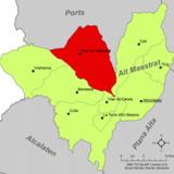 Localización de Ares del Maestre respecto a la comarca del Alto Maestrazgo