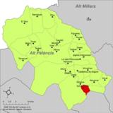 Localización de Sot de Ferrer respecto a la comarca del Alto Palancia