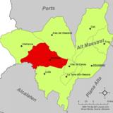 Localización de Benasal respecto a la comarca del Alto Maestrazgo