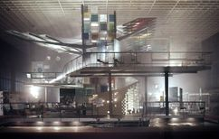Pabellón de la Industria del Vidrio Alemana en la Interbau, Berlín (1956-1957), junto con Hermann Fehling