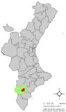 Localización de Novelda respecto a la Comunidad Valenciana