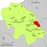 Localización de Algimia de Alomacid respecto a la comarca del Alto Palancia