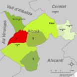 Localización de Onil respecto a la comarca de l'Alcoià