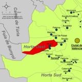 Localización de Aldaia respecto a la comarca de la Huerta Oeste