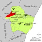 Localización de Algimia de Alfara respecto a la comarca del Campo de Morvedre