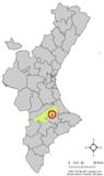 Localización de Beniatjar respecto a la Comunidad Valenciana